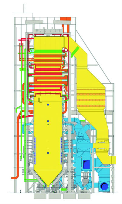 Figure 3. Alstom tower boiler showing the steam generation system ...