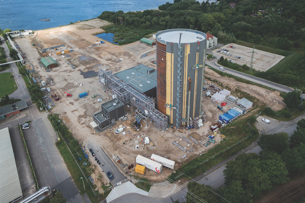 Photograph Taken From A Drone Flying Over The Construction Site In Early September 2016 30000 M3 Useful Volume Heat Store Is 60 M High